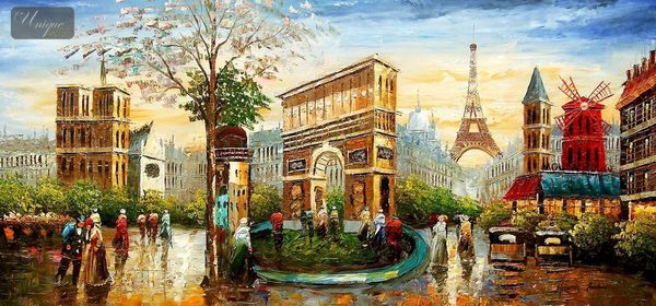 "MODERN ART - PARISIAN COLLAGE 24x48 "" ORIGINAL OIL PAINTING – image 1"