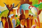 "AUGUST MACKE - IN THE ZOOLOGICAL GARDENS 24x36 "" OIL PAINTING – image 2"