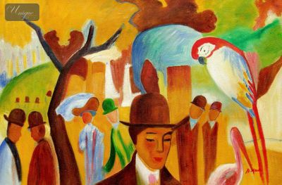 "AUGUST MACKE - IN THE ZOOLOGICAL GARDENS 24x36 "" OIL PAINTING – image 1"
