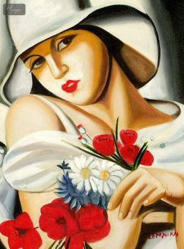 "HOMAGE TO T. LEMPICKA - MIDSUMMER 12x16 "" REPRO OIL PAINTING – image 1"