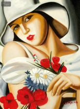 """HOMAGE TO T. LEMPICKA - MIDSUMMER 12x16 """" REPRO OIL PAINTING 001"""