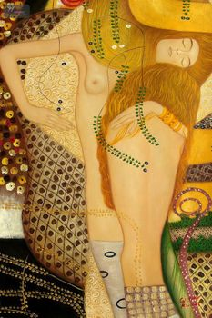 "GUSTAV KLIMT - WATER SERPENTS 24x36 "" PAINTED BY HAND IN OIL"