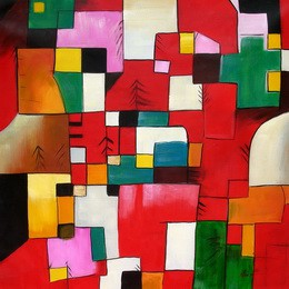 "PAUL KLEE - RED GREEN AND VIOLET-YELLOW RHYTHMS 48x48 "" OIL PAINTING – image 2"