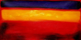 "BAUHAUS - BLUE TO YELLOW TO RED 24x48 "" ORIGINAL OIL PAINTING – image 2"