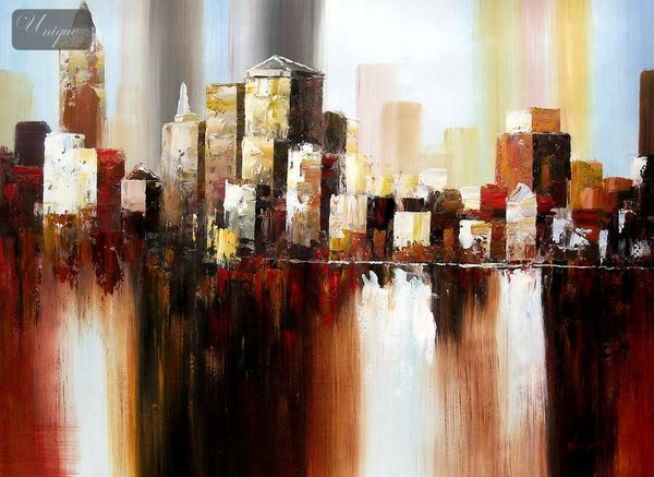 Abstract - Downtown Manhattan Skyline 80x110 cm Original Oil Painting