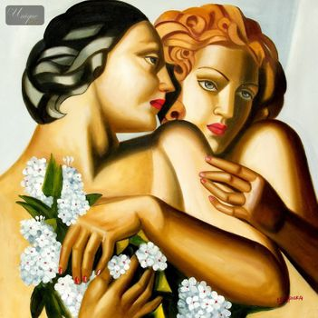 "HOMAGE TO T. DE LEMPICKA - SPRING 32x32 "" REPRO OIL PAINTING"