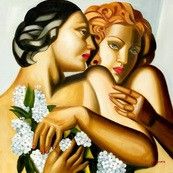 """HOMAGE TO T. DE LEMPICKA - SPRING 32x32 """" REPRO OIL PAINTING – image 2"""