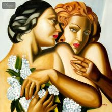 "HOMAGE TO T. DE LEMPICKA - SPRING 32x32 "" REPRO OIL PAINTING 001"