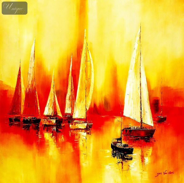 Sailing Boats On Lake Garda  120x120 cm Oil Painting Museum Quality
