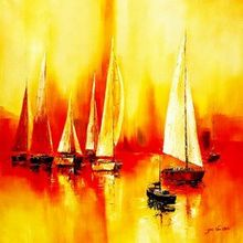 Sailing Boats On Lake Garda  120x120 cm Oil Painting Museum Quality 001