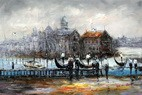 "MODERN ART - VENICE AT DAWN  24X36 "" OIL PAINTING 001"