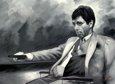 Modern Art - The Scarface Tony Montana  80x110 cm Oil Painting Museum Quality