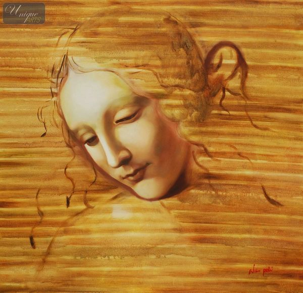 Leonardo Da Vinci - Head Of A Woman  80x80 cm Reproduction Oil Painting
