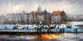 "MODERN ART - VENICE AT DAWN  24X48 "" OIL PAINTING"
