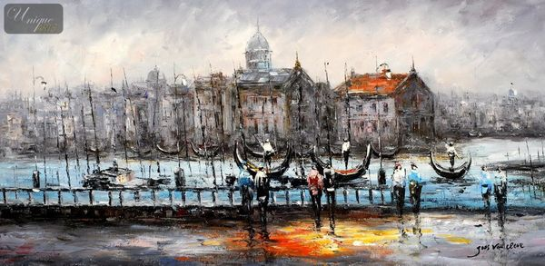"MODERN ART - VENICE AT DAWN  24X48 "" OIL PAINTING"