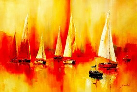 Sailing Boats On Lake Garda  120x180 cm Oil Painting