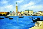 "VENICE AT THE DOGE'S PALACE  24X36 "" OIL PAINTING"