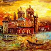 "MODERN ART - VENICE ST. MARK'S CATHEDRAL  32X32 "" OIL PAINTING"