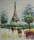 "MODERN ART - PARIS STROLL BY THE EIFFEL TOWER  20X24 "" OIL PAINTING 001"