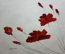 "ABSTRACT - RED POPPY FLOWER HEADS  20X24 "" OIL PAINTING"
