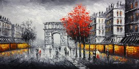 "MODERN ART - PARIS - ARC DE TRIOMPHE  24X48 "" OIL PAINTING"
