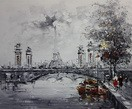 "MODERN ART - PARIS CITYSCAPE IN WINTER  20X24 "" OIL PAINTING"