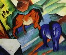 "FRANZ MARC - RED AND BLUE HORSE  20X24 "" OIL PAINTING"