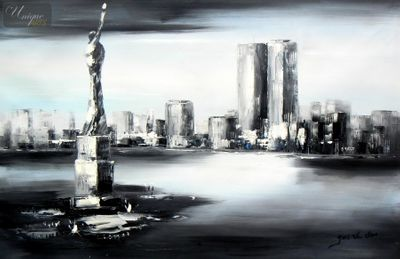 "NEW YORK  - MANHATTAN SKYLINE MOONLIT 24X36 "" OIL PAINTING – image 1"
