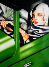 "HOMAGE TO T. DE LEMPICKA - TAMARA IN THE GREEN BUGATTI 32X44 "" OIL PAINTING – image 2"