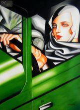 "HOMAGE TO T. DE LEMPICKA - TAMARA IN THE GREEN BUGATTI 32X44 "" OIL PAINTING 001"