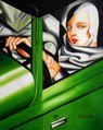 "HOMAGE TO T. DE LEMPICKA - TAMARA IN THE GREEN BUGATTI 16X20 "" OIL PAINTING – image 2"