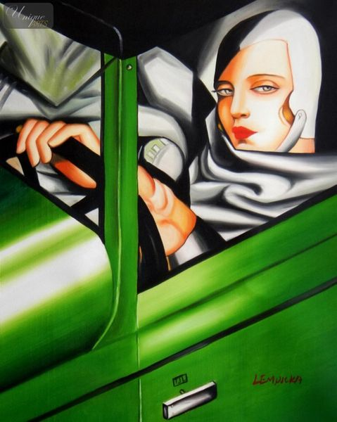 "HOMAGE TO T. DE LEMPICKA - TAMARA IN THE GREEN BUGATTI 16X20 "" OIL PAINTING"