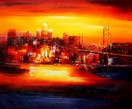 "MODERN ART - GOLDEN GATE BRIDGE AT SUNSET 20X24 "" OIL PAINTING – image 2"
