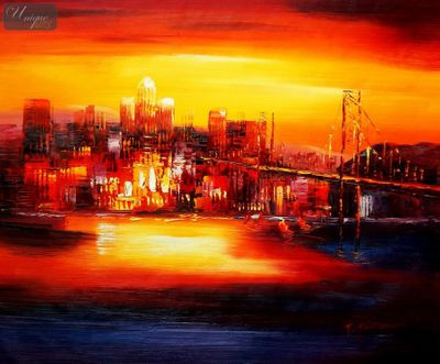 "MODERN ART - GOLDEN GATE BRIDGE AT SUNSET 20X24 "" OIL PAINTING – image 1"