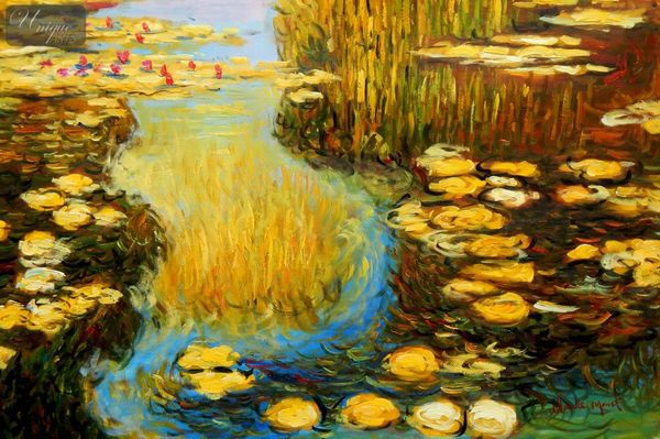 Claude Monet - Water Lilies In Summer 60x90 cm Reproduction Oil Painting – image 1