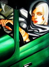 "HOMAGE TO T. DE LEMPICKA - TAMARA IN THE GREEN BUGATTI 32X44 "" OIL PAINTING 001"
