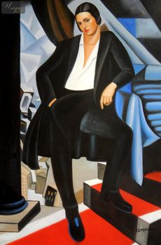 "HOMAGE TO T. DE LEMPICKA - DUCHESS DE LA SALLE 24X36 "" OIL PAINTING – image 1"