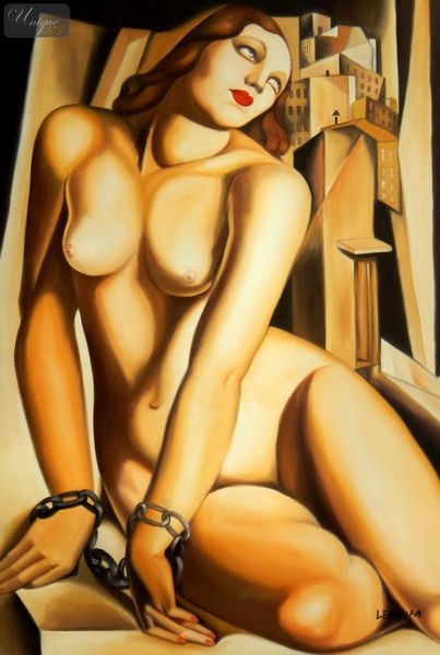 "HOMAGE TO TAMARA DE LEMPICKA - ANDROMEDA 24X36 "" OIL PAINTING ART DECO"
