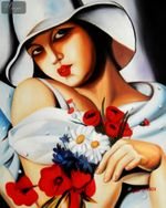 "HOMAGE TO T. LEMPICKA - MIDSUMMER 16X20 "" OIL PAINTING 001"