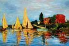 "CLAUDE MONET - REGATTA AT ARGENTEUIL 24X36 "" OIL PAINTING – image 2"