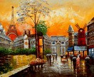 "MODERN ART - PARISIAN COLLAGE 20X24 "" OIL PAINTING – image 2"
