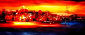 "MODERN ART - GOLDEN GATE BRIDGE AT SUNSET 30X72 "" OIL PAINTING – image 2"
