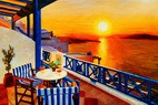 "MODERN ART - SUNSET IN GREECE 24X36 "" OIL PAINTING – image 2"