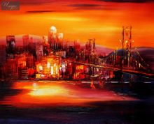 Modern Art - Golden Gate Bridge At Sunset 40x50 cm Oil Painting 001