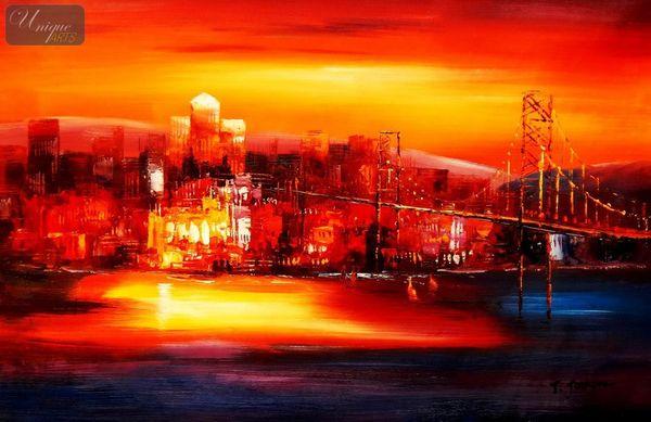 Modern Art - Golden Gate Bridge At Sunset 60x90 cm Oil Painting