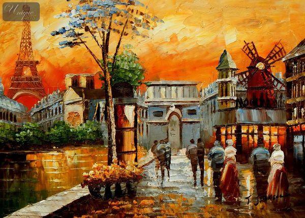 Modern Art - Parisian Collage 30x40 cm Oil Painting – image 1