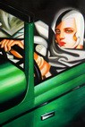 "HOMAGE TO T. DE LEMPICKA - TAMARA IN THE GREEN BUGATTI 24X36 "" OIL PAINTING – image 2"