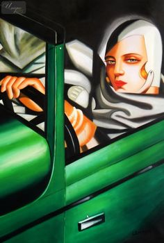 "HOMAGE TO T. DE LEMPICKA - TAMARA IN THE GREEN BUGATTI 24X36 "" OIL PAINTING – image 1"