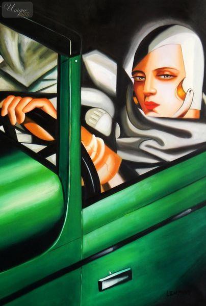 "HOMAGE TO T. DE LEMPICKA - TAMARA IN THE GREEN BUGATTI 24X36 "" OIL PAINTING"