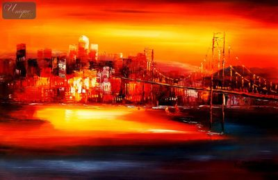 "MODERN ART - GOLDEN GATE BRIDGE AT SUNSET 24X36 "" OIL PAINTING – image 1"